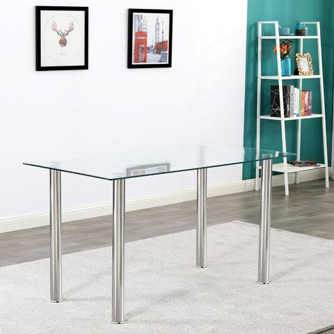 Simple Assembled Transparent Glass & Iron Dining Table