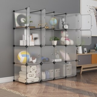 LANGRIA 16-Cube DIY Interlocking Modular Shelving Storage Organizer Closet
