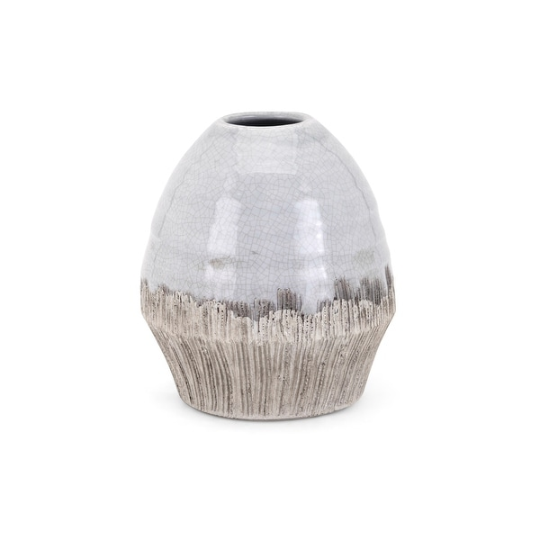 """8"""" Gray and Brown Glossy Finished Decorative Edwin Small Vase Tabletop Decor - N/A"""