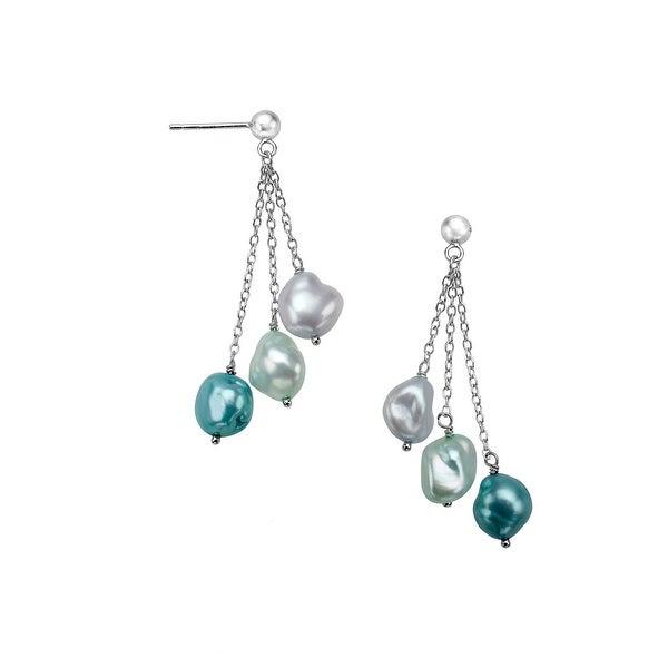 Honora Multi-Color 7 mm Freshwater Pearl Drop Earrings in Sterling Silver - Blue