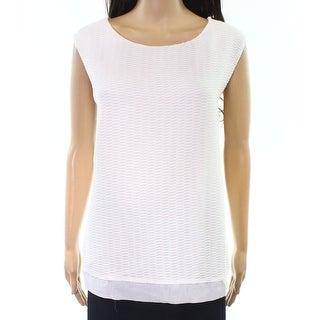 Calvin Klein NEW White Womens Size 2X Plus Square-Neck Knit Tank Top