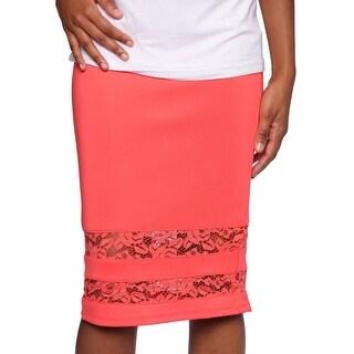 Thalia Sodi Lace-Hem Pencil Skirt Women