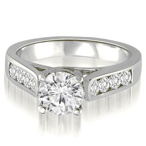 1.35 cttw. 14K White Gold Trellis Cathedral Round Cut Diamond Engagement Ring