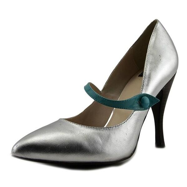 N.Y.L.A. Brennan Women Pointed Toe Leather Silver Mary Janes