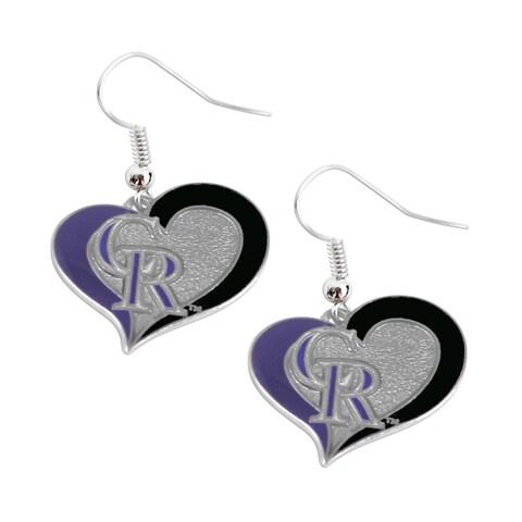 Mlb Colorado Rockies Swirl Heart Earring Set Charm Gift