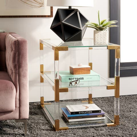 Safavieh Couture High Line Collection Louisa Bronze Brass Acrylic End Table