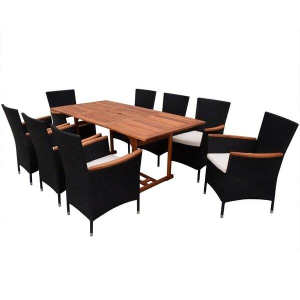 vidaXL Outdoor Dining Set 17 Pieces Poly Rattan Wicker Black Seat Garden Table. Opens flyout.