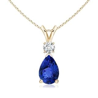 Angara Pear Tanzanite Teardrop Pendant Necklace with Diamond