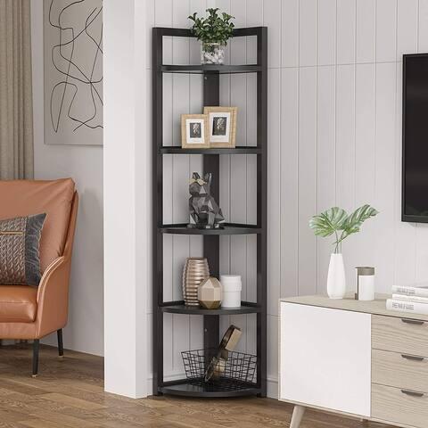 Rustic 5 Tier Corner Shelf Stand,Corner Bookshelf Bookcase Plant Shelf