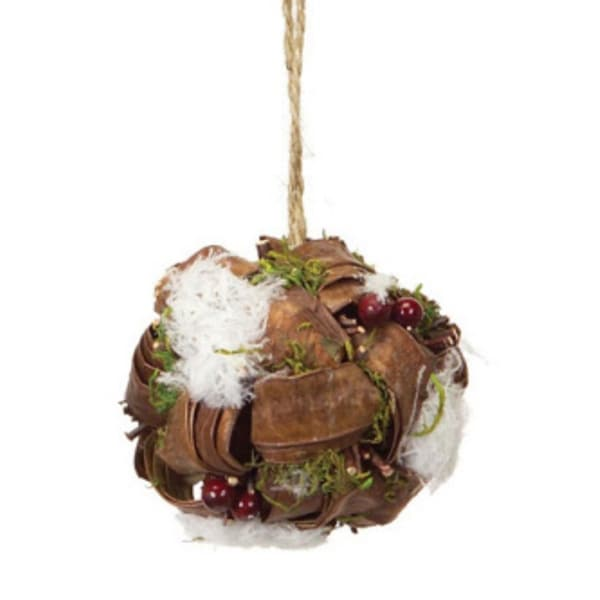 "4"" Modern Lodge Moss and Rattan Berry Christmas Ball Ornament"