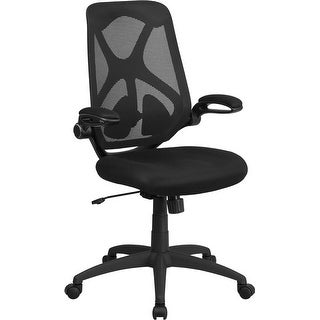 Brielle High-Back Black Mesh Executive Swivel Chair w/Paddle Control, Arms