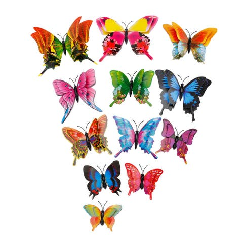 12pcs 3D Butterfly Wall Sticker Decal with Sticker for DIY Bedroom Decor - Assorted colors