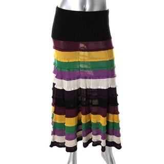 Catherine Malandrino Womens Silk Colorblock Maxi Skirt - S