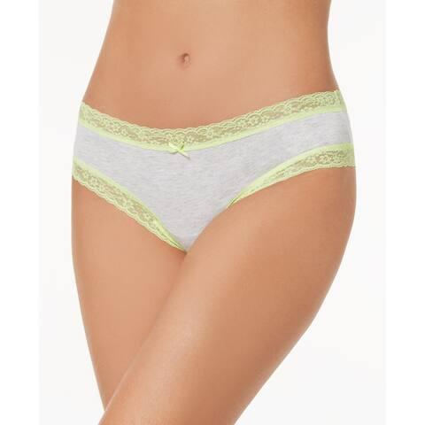 Jenni Women's Cotton Cheeky Lace-Trim Hipster Underwear (Grey, XL)