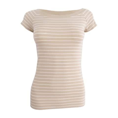 Lauren Ralph Lauren Women's Petite Striped Off-the-Shoulder Tee (PXS, Beige) - Beige - PXS