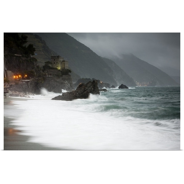 """""""Stormy seascape looking to the lights of Vernazza from Monterosso al Mare"""" Poster Print"""