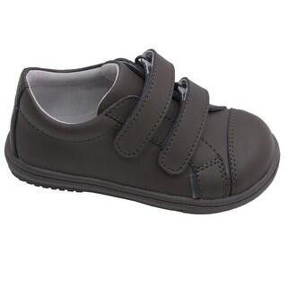 L'Amour Little Big Kids Boys Khaki Double Strap Leather Sneakers 11 Kids - 11 kids
