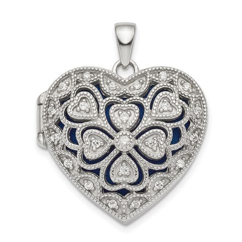 Sterling Silver Rhodium-plated Fancy CZ Heart Locket with 18-inch Cable Chain By Versil