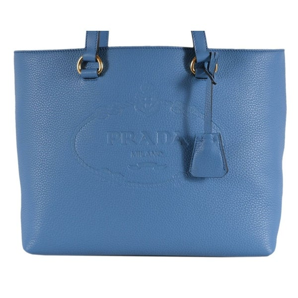 Prada 1BG100 Mare Blue Leather Vitello Phenix Embossed Logo Shopper Purse 9a92c60d90d3e