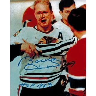 Bobby Hull Signed Blackhawks Blood 8x10 Photo w/HOF 1983