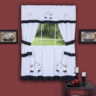 Gourmet Chef Embellished Cottage Kitchen Curtain Set, 58x36 and 58x36