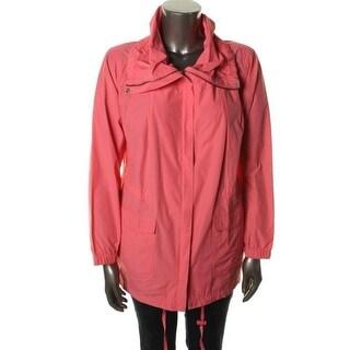 Eileen Fisher Womens Nylon Blend Single Vent Raincoat - XL
