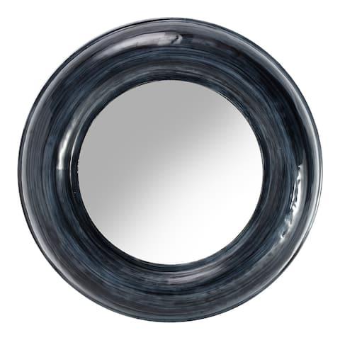 Aurelle Home Modern Round Semi-Gloss Iron Mirror