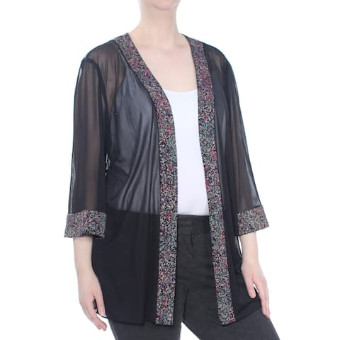 ALEX EVENINGS Womens Black Sparkle Embellished Jacket Plus Size: 3XS