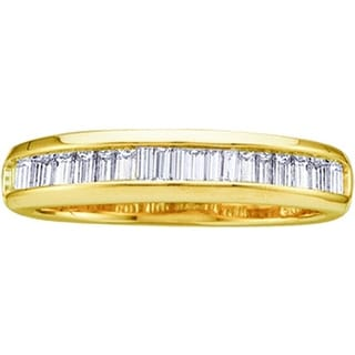 10kt Yellow Gold Womens Baguette Natural Diamond Band Wedding Anniversary Ring 1/4 Cttw - White
