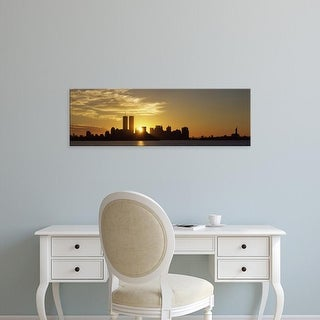 Easy Art Prints Panoramic Image 'Manhattan skyline,Sunrise, Statue Of Liberty, New York City, New York' Canvas Art