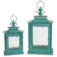 """Set of 2 Antique Finished Teal Blue Candle Lanterns 20.75"""""""