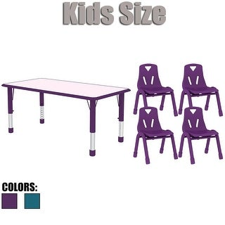 2xhome Kids Table and Chairs Set Adjustable Leg Wavy Activity Table School Table Childrens Bright Color Table Preschool (Option: Purple Finish)