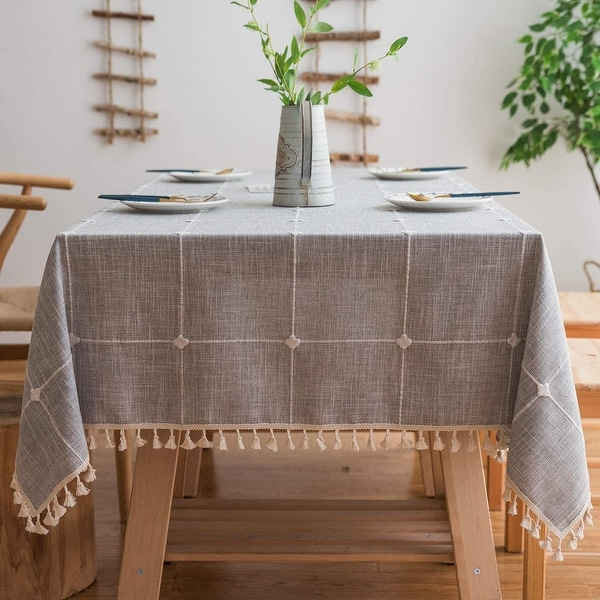 Washable Cotton Linen Solid Embroidery Checkered Design Tablecloth. Opens flyout.
