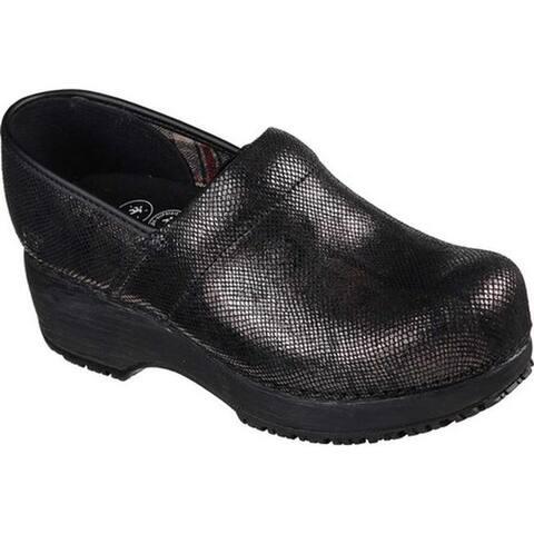 6859e4d62e94 Skechers Women s Work Clog Slip Resistant Shoe Black Black