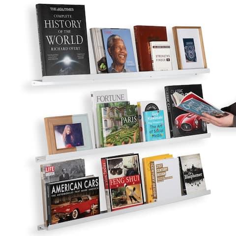 "Wallniture Metallo 46"" Metal Floating Bookshelf, Picture Ledge, White, (Set of 3)"