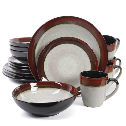 Gibson Deco Couture 16 Piece Dinnerware Set- Cream with Red Rim