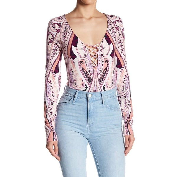 886cdf389a4c4b Shop Free People Pink Women's Size Small S Floral Print Lace Up Knit Top - Free  Shipping On Orders Over $45 - Overstock - 26956651
