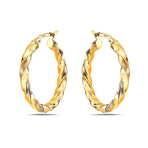 Pori 14K Yellow Gold Round Twisted Braided Hoop Earrings