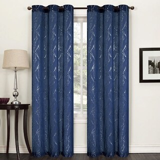 Flora 2-Pack Metallic Vine Textured Sheer Grommet Panels, 76x84 Inches