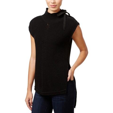Jessica Simpson Womens Elin Mock Turtleneck Sweater Lace Up Split Hem