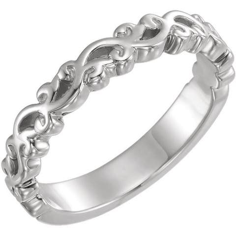 Auriya Petite Ultra-Thin Stackable Vintage Carved 10K Gold Ring