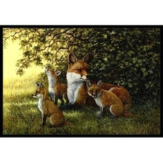 Carolines Treasures BDBA0382MAT Foxes Resitng Under the Tree Indoor or Outdoor Mat 18 x 27