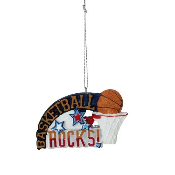"3.5"" Orange and Blue Basketball Rocks Sports Christmas Ornament"