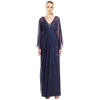 Teri Jon Chiffon Over Lace Silk Chiffon Evening Gown Dress