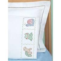 Froggy - Children's Stamped Pillowcase W/White Perle Edge 1/Pkg