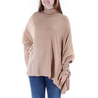 Womens Beige Dolman Sleeve Turtle Neck Sweater Size L