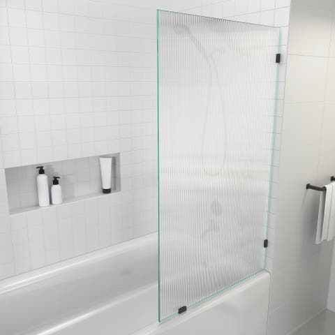 """Glass Warehouse 58.25"""" x 34"""" Frameless Shower Door - Single Fixed Bath Panel Fluted Frosted"""