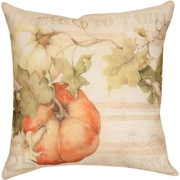 Set of 2 Subtle Colors Pumpkins Farm To Table Themed Decorative Throw Pillow 18""