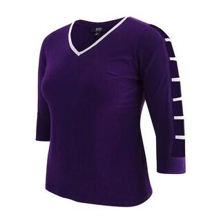 MSK Women's Petite Embellished Top (PL, Plum) - PLUM - pl