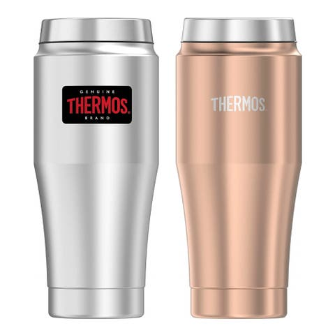 Thermos 16 Oz Steel Travel Tumbler 2PK - S/S and Matte Rose Gold - 16 Oz